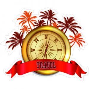 Золотой компас и пальмы, компас, пальма, путешествия